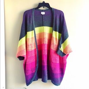 [AEO] Neon Striped Colorblock Open Sweater